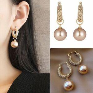 Gorgeous Pearl Earrings Dangle Hoop Hook Drop Wedding Party Jewelry Women Gift