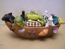 Clay Animal Boat Ark with Frogs, Fish, Birds, Turtles - Peru