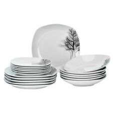 Square Ceramic Dinner Set 18 Piece Winter Black Trees Dinnerware Porcelain Plate