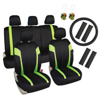 Stylish Green Seat Covers Universal for Cars SUV Trucks 17pcs Combo Full Set