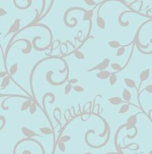 Fine Decor - FD40288 - Live- Love- Laugh Luxury Motif Wallpaper- Teal / Silver