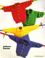 "Aran Baby Childrens Jackets Round-Collar-Hood  20""-26"" Knitting Pattern"
