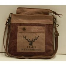 Canvas and Leather Unisex Reindeer Sling Bag