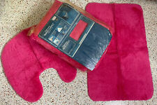 Vintage Nos 70's Sears 5' X 6' Strawberry Pink Bathroom Toilet Rug 3 piece set