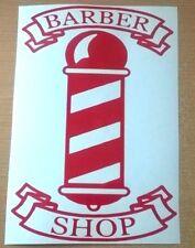 red barbers pole barber shop front window sign door salon vinyl graphic sticker