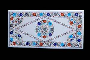 """30""""x48"""" White Marble Dining Top Table Lapis Turquoise Floral Inlay Art Deco W618"""