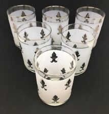 6 LIBBEY fleur de lis metallic silver frosted MEDIUM tumblers glasses VINTAGE