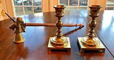 New listing Pair of Vintage Brass Candlesticks & Brass Unicorn Snuffer w/ Wooden Handle