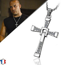 * COLLIER + PENDENTIF FAST AND FURIOUS ARGENT VIN DIESEL DOMINIC TORETTO CROIX *