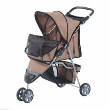 3 Wheels Folding Dog Pet Stroller Jogger Travel Carrier W/ Brake & Canopy