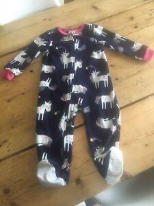 Absorba Baby Fleece Unicorn  Zip Sleepsuit / Pyjamas 18 Months