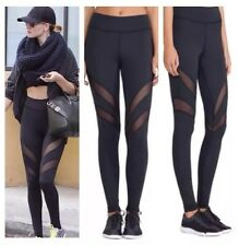 ** NEW BLACK MESH NET FITNESS SPORT LEGGINGS UK 12/14 SIZE L **