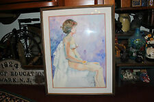 Water Color Painting Nude Portrait Woman W/Perky Breasts-Signed Saen Price-LQQK