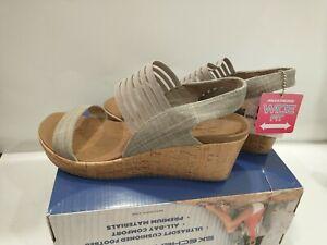 Skechers Cali Smitten Kitten Wedge Womens Size 11 Wide Taupe Cork Sandals NIB