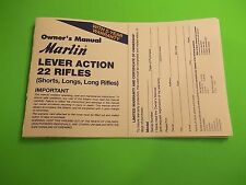 MARLIN LEVER ACTION 22 Caliber RIFLE OWNER'S MANUAL, dated 11/07