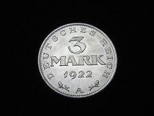 Dt. Reich-Weimar, 3 Mark, 1922 A, Kursmünze, J.-303, Alu.! orig.! St.