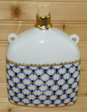 "Lomonosov Cobalt Net Russia-Flask with Cork Stopper, 6"" x 4 5/8"" x 2"""