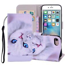 iPhone 8 & iPhone 7 Handytasche Ledertasche Standfunktion Katzen Motiv