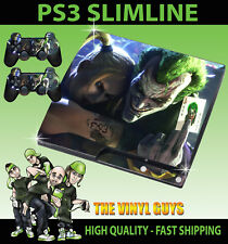 PLAYSTATION PS3 SLIM JOKER AND HARLEY CRAZY LOVE GOTHAM SKIN & 2 X PAD SKINS