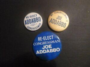 Vintage Set 3 Joseph Addabbo NY NEW YORK CONGRESS political campaign buttons