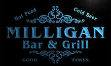 u30653-b MILLIGAN Family Name Bar & Grill Home Brew Beer Neon Sign