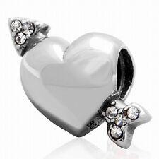 925 STERLING SILVER CUPIDS ARROW HEART CZ CHARM BEAD FITS EUROPEAN BRACELET S186