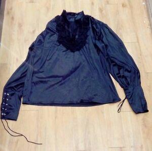 Black Gothic Top / Men / Lace Collar - 1009