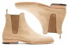 Handmade Men beige color Chelsea boot, Men beige ankle suede leather sole boot
