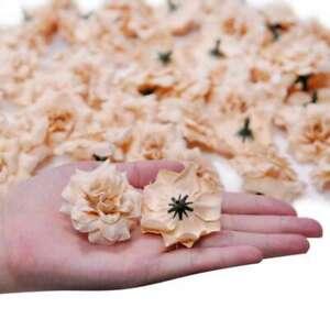 50pcs Roses Artificial Silk Bridal Flower Heads 50mm Clips Wedding Decor Lots