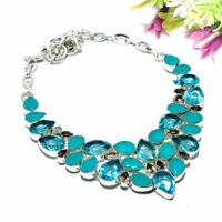 Blue Topaz, Blue Onyx 925 Sterling Silver Jewelry Necklace 18 8146