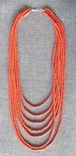 "Terracotta Beaded Ukrainian Necklace, 7 threads, 20"", Small & Rectangular  #2"