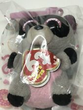 2014 TY Beanie Boo Rocco Raccoon Backpack Clip Plush Toy