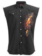 Spiral Direct SKULL LAVA SLEEVELESS WORKER/Shirt/Skull/Fire/Biker/M-L-XL-XXL-4XL