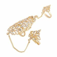 Crystal Double Fashion Chain Gold Rhinestone Ring Sets Full Finger Hollow