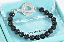 "Tiffany & Co Silver Black Onyx Bead Bracelet Strand Toggle 8"" Love Bracelet RARE"