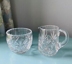 Vintage Crystal Glass Sugar Bowl And Creamer Jug Webb Corbett Signed