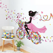 .Bicycle Flower Girl Removable Wall Sticker Vinyl Decal DIY Home Mural Deco.