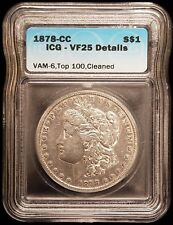 1878-CC Morgan Silver Dollar Carson City ICG VF25 Details VAM6 DDO Double Leaves