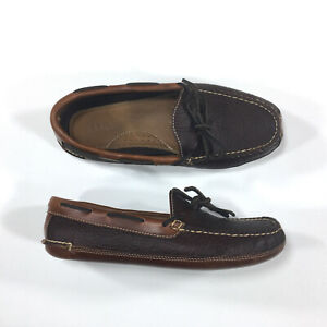 L.L. Bean Bison Slippers Mens Size 7 Raisin Brown Leather Moccasin 238250