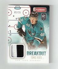 TOMAS HERTL 13-14 PANINI PLAYBOOK RC PRIME JERSEY PATCH #D 1 /25 ROOKIE 1/1 SEAM