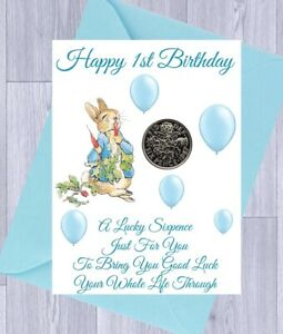 FIRST 1ST BIRTHDAY Gift LUCKY SIXPENCE,  BOY or GIRL, PINK RABBIT, Gift Card