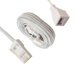 BT Telephone Extension Cable Phone Line Fax Modem Socket 1m 2m 3m 5m 10m 20m lot