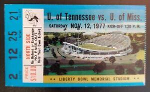 Ole Miss Tennessee Volunteers Football Ticket Stub 11/12 1977 Pat Ryan Tim Ellis