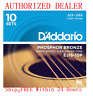 10 Pack D'Addario EJ16-10P Light  Acoustic Guitar Strings Phosphor Bronze