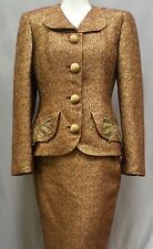 Vintage 60's or 70's Nina Ricci Haute Boutique Paris Wool Suit Metallic Beading