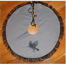"""Flying Crow Embroidered Tree Skirt, Lamp Skirt 26"""" dia Halloween,Goth, Prim"""