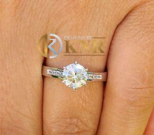 14K WHITE GOLD 1.15 CARAT ROUND FOREVER ONE MOISSANITE RING BRIDAL WEDDING PRONG