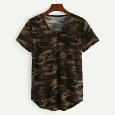 Women Camouflage T-shirt Army Short Sleeve Camo Loose Shirt Tops Blouse Tee S-XL