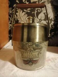 Vintage Ice Bucket With Wooden Handle