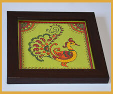 Eco Friendly Hand Painted Square Wood Coaster with glass top Holder from India